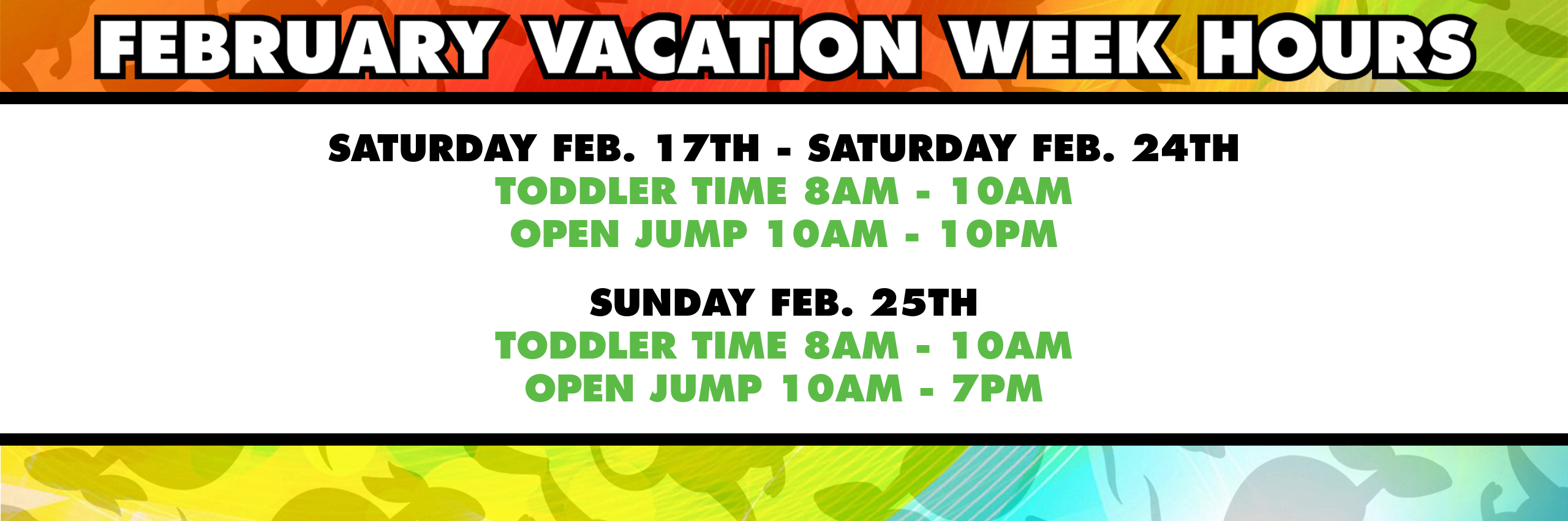 Feb. Vacation 2018 Hours